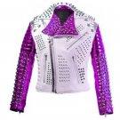 Men motorbike fashion style full body gothic studded White And purple leather jacket SIze 5XL