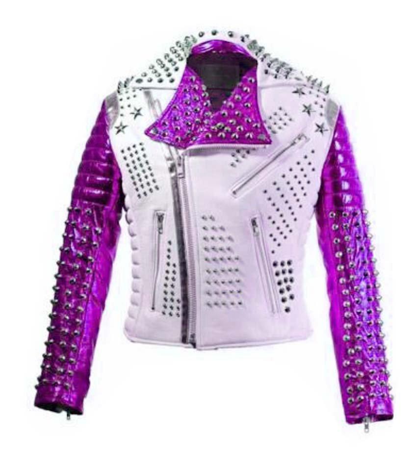 Men motorbike fashion style full body gothic studded White And purple leather jacket SIze 6XL