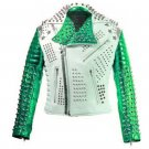 Men motorbike fashion style full body gothic studded White And Green leather jacket Size 6XL
