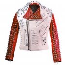 Men motorbike fashion style full body gothic studded White And Red leather jacket Size S
