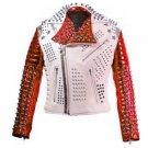 Men motorbike fashion style full body gothic studded White And Red leather jacket Size 6XL