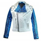 Men motorbike fashion style full body gothic studded White And Blue leather jacket Size XL