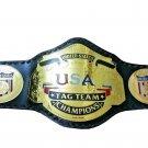 NWA UNITED STATES USA TAG TEAM WRESTLING CHAMPIONSHIP BELT ADULT SIZE BLACK LEATHER STRAP