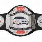 SCCA THAT,S RIGHT RACING 2012 A STOCK CHAMPION CHAMPIONSHIP BELT BLACK LEATHER STRAP ADULT SIZE