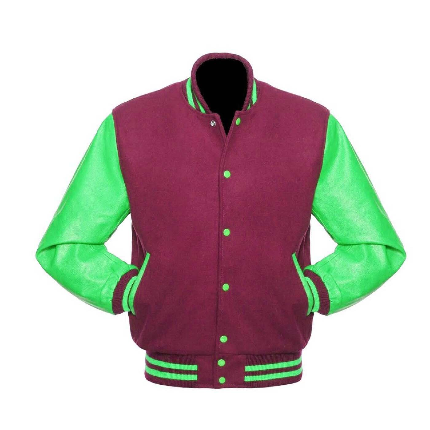 New DC Letterman Baseball Collage Maroon wool Green leather  sleeves varsity jacket size XL
