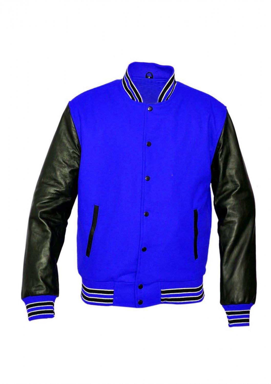 New DC Letterman Baseball Collage Blue wool Black leather sleeves varsity jacket size L