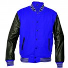 New DC Letterman Baseball Collage Blue wool Black leather sleeves varsity jacket size 3XL