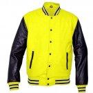 New DC Letterman Baseball Collage Yellow wool Black leather sleeves varsity jacket size 2XL
