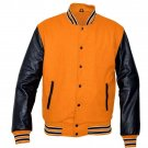 New DC Letterman Baseball Collage Orange wool Black leather sleeves varsity jacket size L
