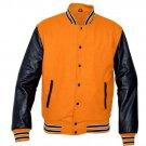 New DC Letterman Baseball Collage Orange wool Black leather sleeves varsity jacket size 2XL