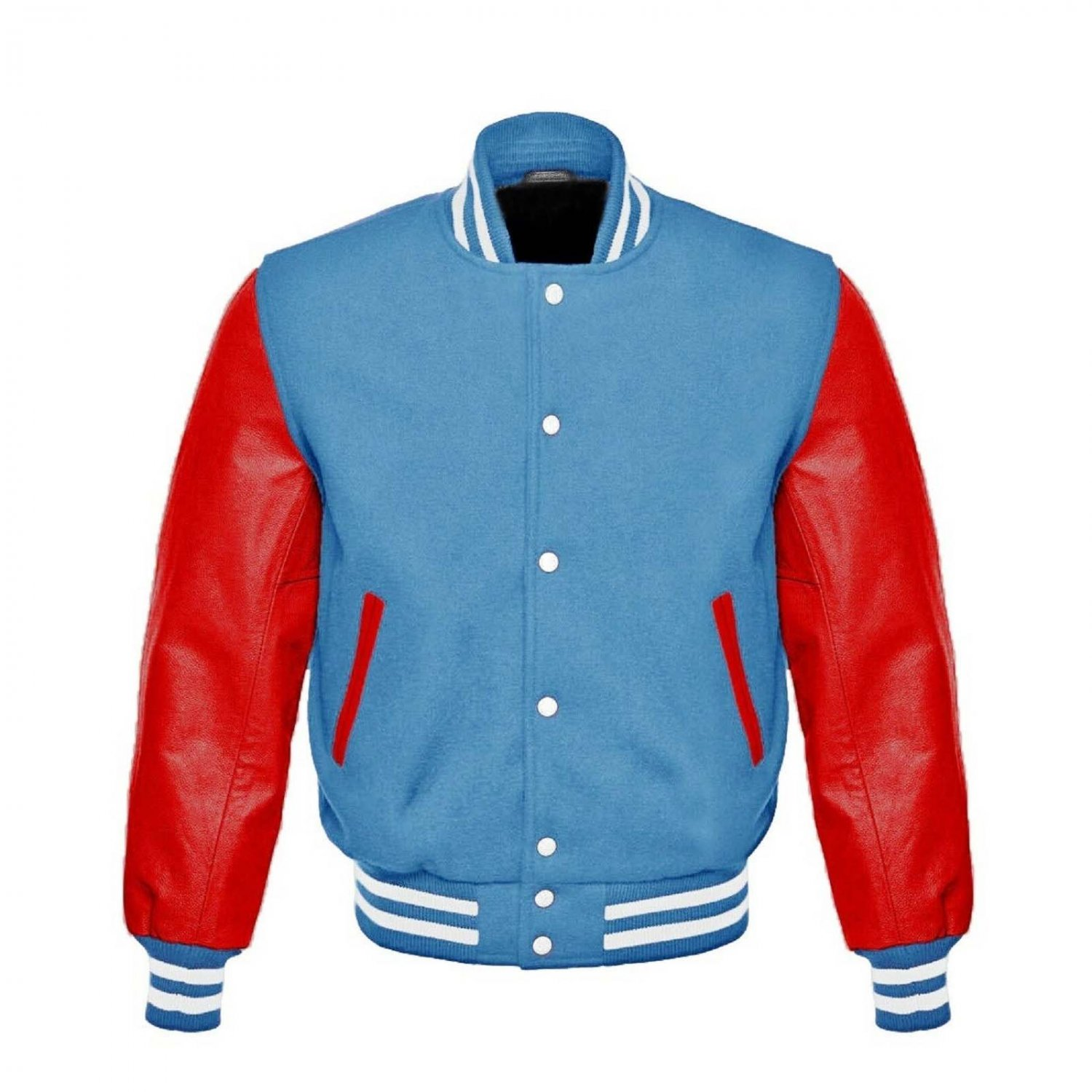 New DC Letterman Baseball Collage Lime Blue wool Red leather sleeves varsity jacket size XS