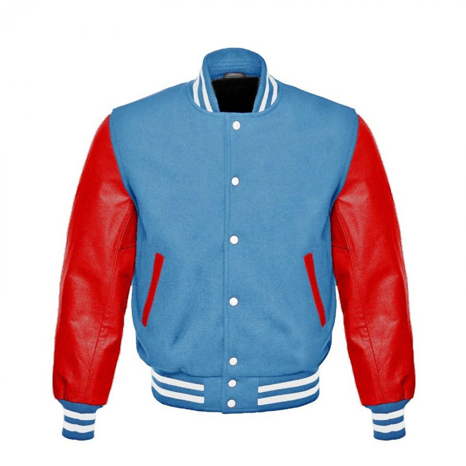 New DC Letterman Baseball Collage Lime Blue wool Red leather sleeves varsity jacket size 5XL