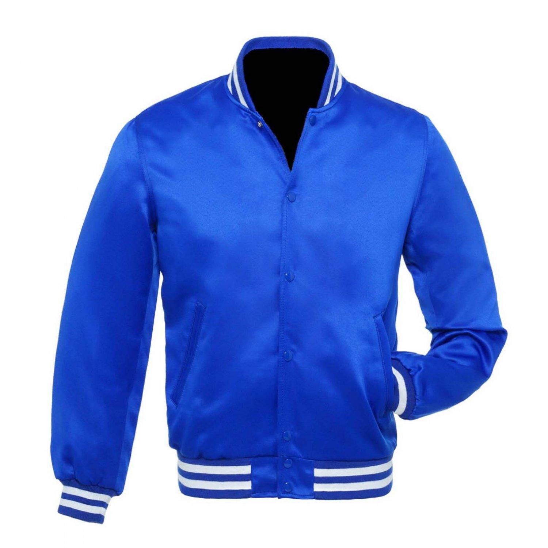 New Satin Baseball Collage Blue varsity Bomber jacket White Trim size S