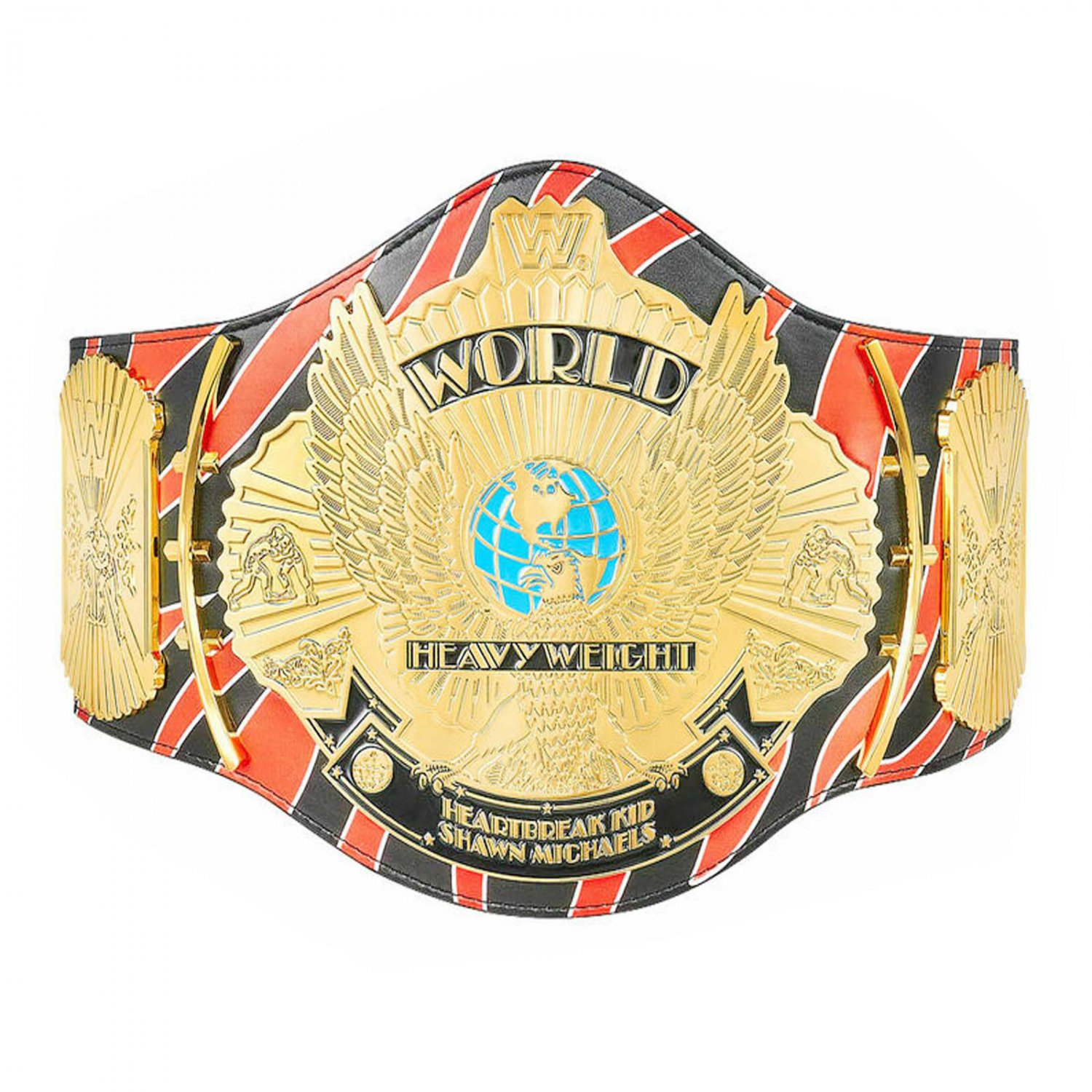 SHAWN MICHAEL SIGNATURE SERIES WINGED EAGLE WRESTLING CHAMPIONSHIP BELT BLACK LEATHER STRAP