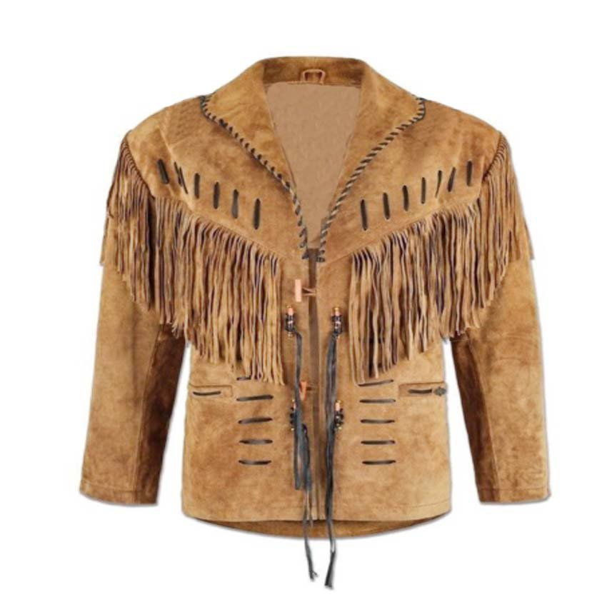 WESTERN COW BOY JACKET TAN BROWN SUEDE LEATHER MEN WITH BEAUTIFUL FRINGE ART NO 3578 SIZE XL