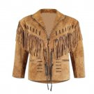 WESTERN COW BOY JACKET TAN BROWN SUEDE LEATHER MEN WITH BEAUTIFUL FRINGE ART NO 3578 SIZE 2XL