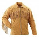 WESTERN COW BOY JACKET TAN BROWN SUEDE LEATHER MEN WITH BEAUTIFUL FRINGE ART NO 7594 SIZE L