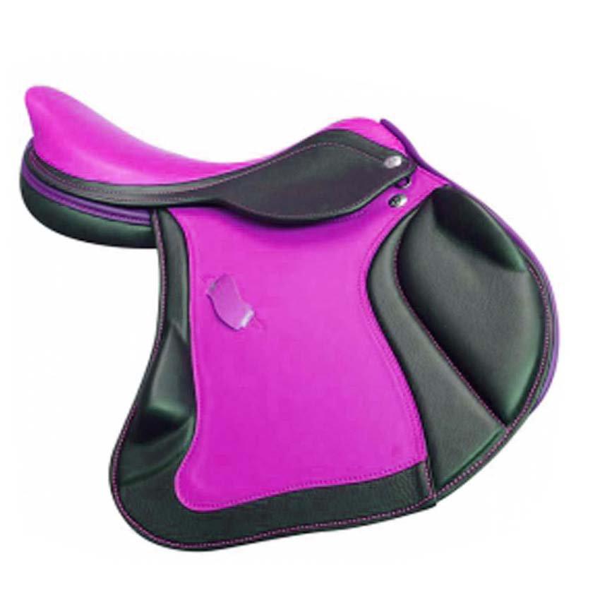 HORSE RIDDING SADDLE PREMIUM QUALITY BLACK AND PURPLE COLOR SIZE 16