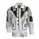 WESTERN COW BOY JACKET TAN WHITE SUEDE LEATHER MEN WITH BEAUTIFUL FRINGE ARTICLE 5730 SIZE 3XL