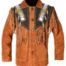 WESTERN COW BOY JACKET TAN BROWN AND BLACK SUEDE LEATHER MEN WITH BEAUTIFUL FRINGE SIZE L