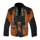 WESTERN COW BOY JACKET BLACK SUEDE LEATHER MEN WITH BEAUTIFUL BROWN FRINGE ART NO F5744 SIZE 5XL