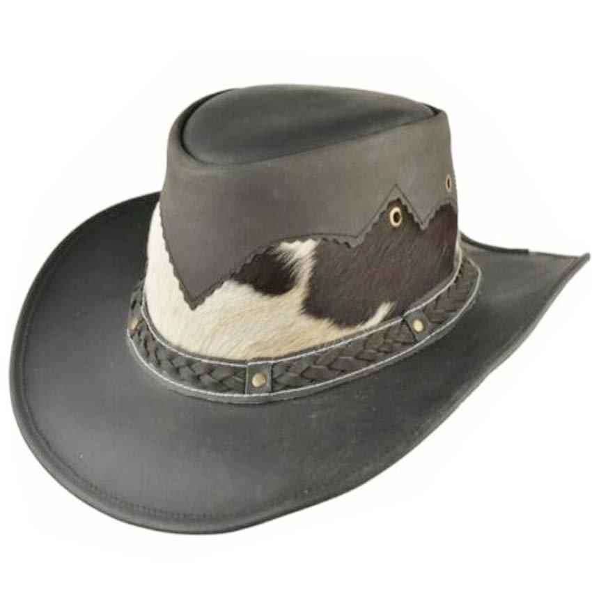 Western Cowboy Leather Hat Aussie Style Unisex Black Hat Size 55 to 56 S