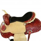 WESTERN HORSE SADDLE RANCH ROPING TOOLED LEATHER TRAIL PLEASURE PREMIUM QUALITY BROWN COLOR SIZE 17