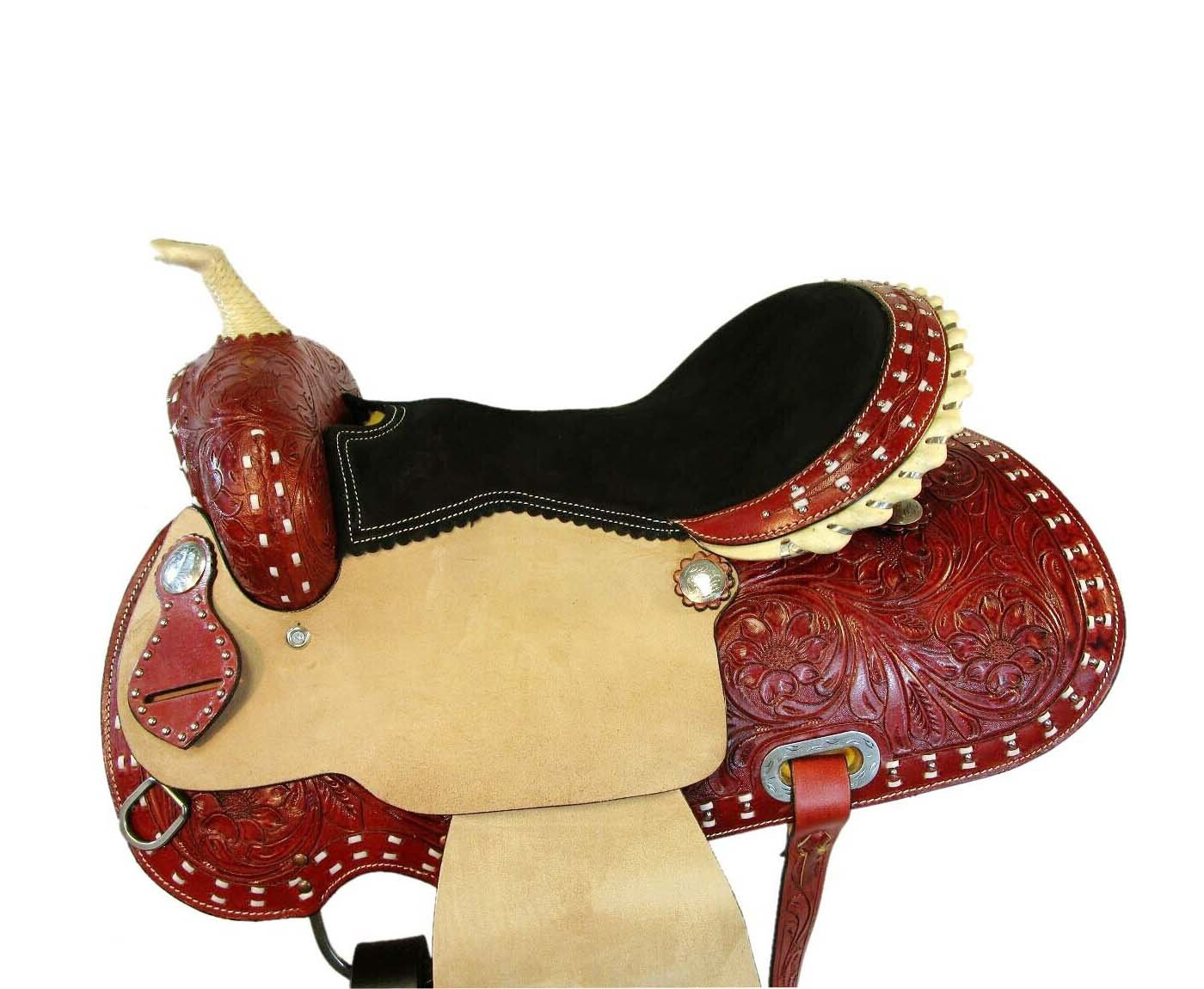 WESTERN HORSE SADDLE RANCH ROPING TOOLED LEATHER TRAIL PLEASURE PREMIUM QUALITY BROWN COLOR SIZE 20