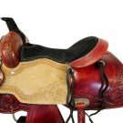 WESTERN HORSE SADDLE RANCH ROPING TOOLED LEATHER TRAIL PLEASURE PREMIUM QUALITY BROWN COLOR SIZE 15