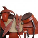 WESTERN HORSE SADDLE TOOLED LEATHER TRAIL DEEP SEAT PLEASURE PREMIUM QUALITY BROWN COLOR SIZE 14