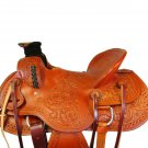 WESTERN HORSE SADDLE RANCH ROPING TOOLED LEATHER TRAIL PLEASURE PREMIUM QUALITY BROWN COLOR SIZE 16
