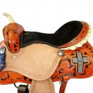 WESTERN HORSE SADDLE TACK SET TOOLED LEATHER TRAIL PLEASURE PREMIUM QUALITY BROWN COLOR SIZE 24