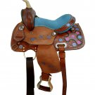 WESTERN HORSE SADDLE BEAUTIFUL STYLE LEATHER TRAIL PLEASURE PREMIUM QUALITY BROWN COLOR SIZE 14