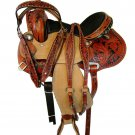 WESTERN HORSE SADDLE FINE ART WORK TOOLED LEATHER TRAIL PLEASURE PREMIUM QUALITY BROWN COLOR SIZE 23