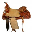 WESTERN HORSE SADDLE TOOLED EMBOSSED LEATHER TRAIL PLEASURE PREMIUM QUALITY BROWN COLOR SIZE 19