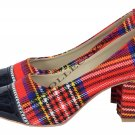 WOMEN TARTAN SHOES RED COLOURE SCOTTISH TRADITIONAL FASHION HIGHLAND WEAR SHOES US SIZE 11