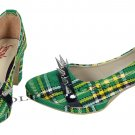 WOMEN TARTAN SHOES GREEN COLOURE SCOTTISH TRADITIONAL FASHION STUDD HIGHLAND WEAR SHOES US SIZE 11.5