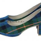 WOMEN TARTAN SHOES GREEN COLOURE SCOTTISH TRADITIONAL FASHION HIGHLAND WEAR SHOES US SIZE 11.5