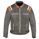 Men Motorcycle Classic Cruiser Street Distress Leather CE Armor Biker Jacket Size 4XL