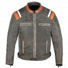 Men Motorcycle Classic Cruiser Street Distress Leather CE Armor Biker Jacket Size 6XL