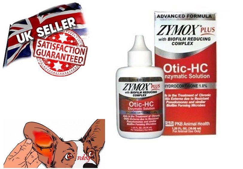 Zymox Otic PLUS Enzymatic Solution 1% Hydrocotisone Dogs/Cats Ear Treatment Otitis 1.25oz UK SELLER
