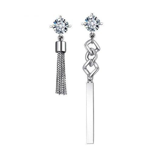 925 Sterling Silver Asymmetric Long Earrings for Women