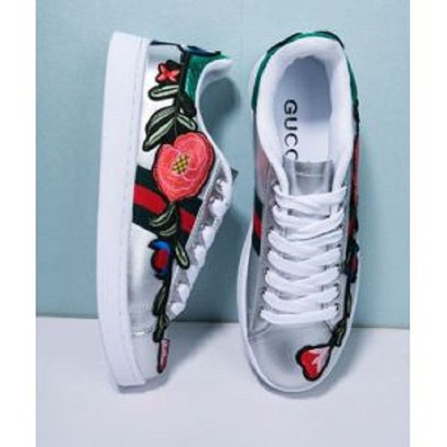 New Ace Floral-Embroidered Metallic Leather Sneakers