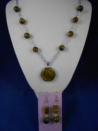 Fashion Jewelry, 20� Tigers Eye Pendant & Earring Set 1, Natural, Different, Unique