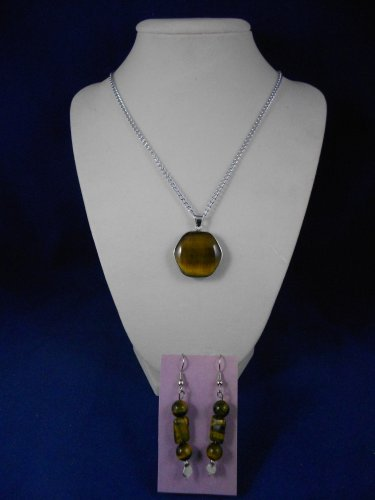 Fashion Jewelry 20� Tigers Eye Pendant & Earrings Natural, Different, Unique