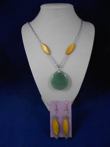 Fashion Jewelry, 20� Mist Green Pendant & Earrings, Natural, Different, Unique