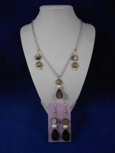 Fashion-Jewelry-20-Smokey-Brown-Pendant-amp-Earrings-Natural-Different-Unique