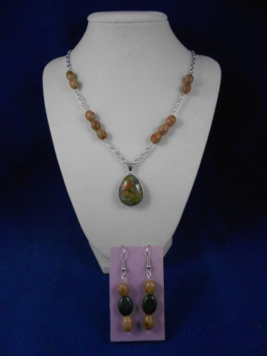 Fashion Jewelry, 20� Green Tear Drop Pendant & Earring Set, Natural, Different