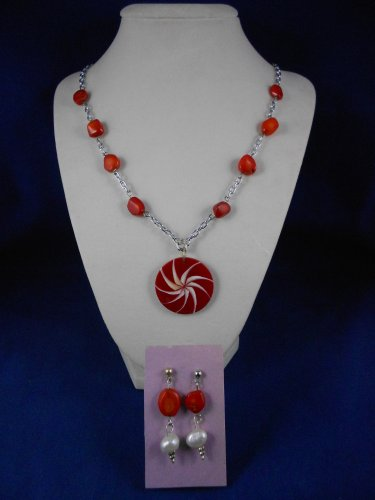 Fashion Jewelry 22� Red Star Pendant & Earrings Natural, Different,Unique