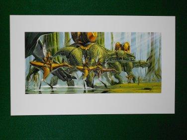 Star Wars Phantom Menace 1999 Doug Chiang Portfolio Print #16 Gungan Battle